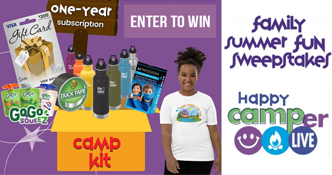 Let Happy Camper Live inspire your Summer Family Fun! Enter for your chance to win one of five Family Summer Fun Camp Kits with all the supplies you need for your families' summer plans