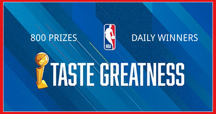 Play the NBA Taste Greatness Instant Win Game daily for your chance to win #NBA Store gift cards and NBA merchandise instantly and you will be entered to win sweepstakes prizes including NBA jerseys, gaming systems and gaming chairs plus a grand prize trip to the NBA All-Star 2022 game