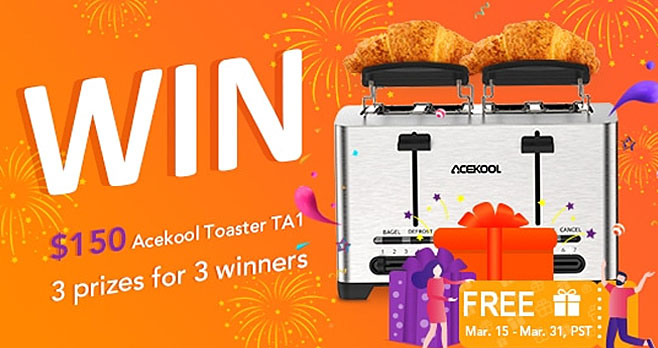 Follow @Acekool for your chance to win an Acekool Stainless Steel toaster that features 4 slots and 2 independent control panels, 7 shade settings, 2 warming racks with leak-proof protection. You'll be ready for a tasty breakfast in no time.