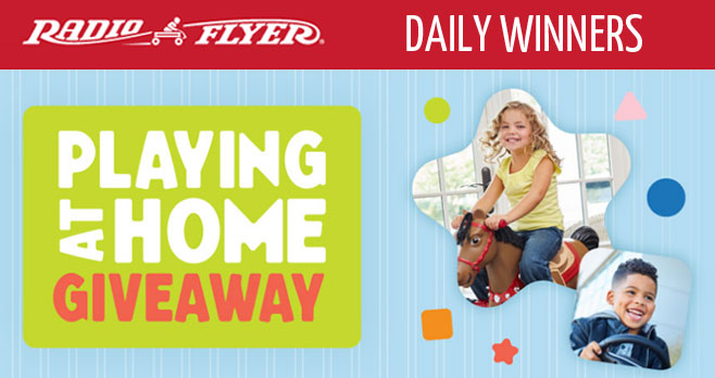 Radio Flyer is giving away one product a day during the #PlayingAtHome Giveaway to help families discover fun new ways to play this spring. Be sure to check back daily for the latest giveaway and enter for your chance to win.
