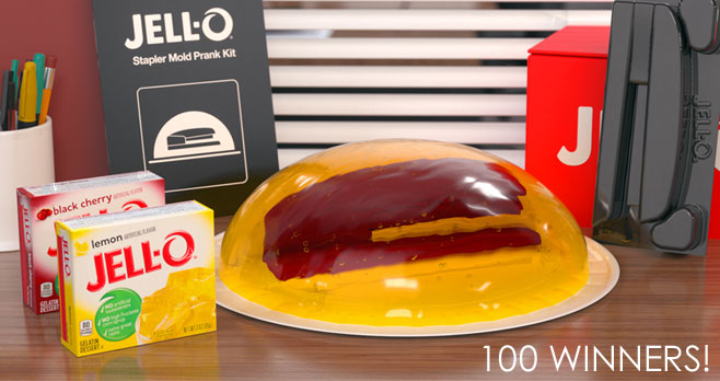 100 WINNERS! Enter for your chance to win a Jell-O Mold Prank gift valued at $70. You will receive an email if you win, so stay tuned. #giveaway