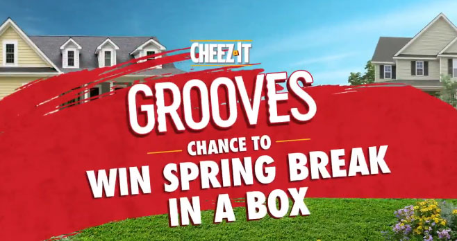 """Need a mind-crunching Spring Break? Follow @cheezit and tweet #GroovesBreakEntry + your fave flavor experience for the chance to win a """"Spring Break In A Box"""" party for you and up to five friends. #giveaway"""