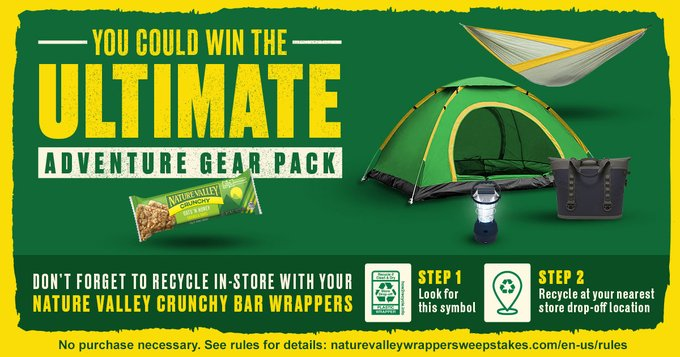 Enter today for your chance to win the ultimate outdoor adventure gear pack from Nature Valley and learnmore about Nature Valley's journey to a more recyclable future.