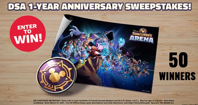 Disney is hosting a giveaway right now and 50 who Retweet with their DSA Player ID and the hashtags #DSASweepstakes and #DSAAnniversary will win a DSA enamel pin and poster, and in-game prizes!