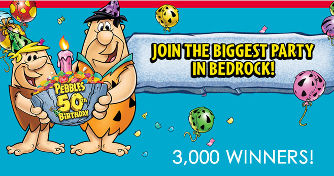 Play the Pebbles 50th Birthday Celebration Instant Win Game daily and you could win one of 3,000 prize. You will need a game code to play. You send away by mail for free or purchase specially marked Pebbles cereal for game codes.