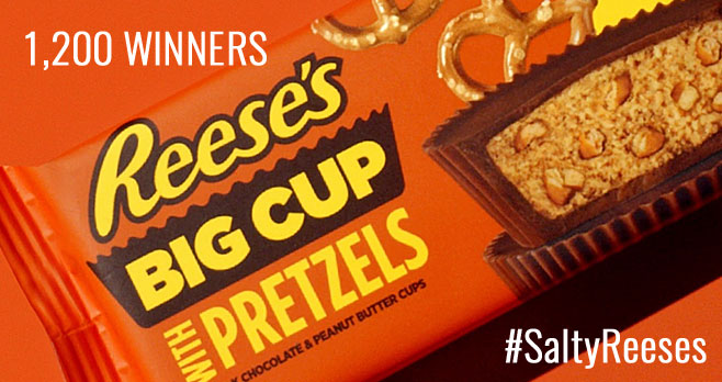 Enter for your chance to win Reese's biggest and saltiest treat ever created – Reese's Big Cups with Pretzels. Fans who follow and retweet @Reeses and use #SaltyReeses and #Sweepstakes when prompted by designated Tweets on Reese's Twitter account, will be qualified to win - but you have to be quick, they will only be open for 10 minute periods.