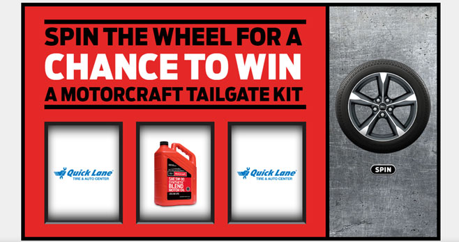 """Between now and September, enter to win a Ford Motorcraft """"Race from Home"""" Tailgate Kit plus one lucky grand prize winner will win an exclusive trip for two to the final race of the season in Phoenix, including airfare, hotel, transportation, and VIP tickets to the race."""