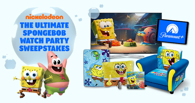 Enter for your chance to win the Ultimate SpongeBob Watch Party prize pack from #NickJr. Each prize pack includes SpongeBob swag and a year-long subscription to our new streaming service Paramount+