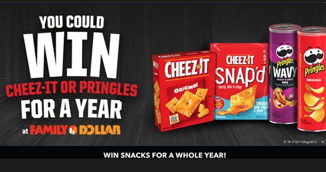 Family Dollar and Kellogg's Family Rewards wants you to win free snacks for a year so they are giving away $250 Family Dollar Gift Card to one hundred winners! Must be 18 years old or older. Limit five entries per member per day.