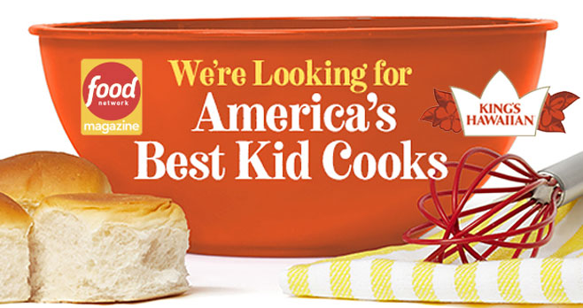 Food Network Magazine teamed up with King's Hawaiian to find the country's most amazing junior chefs. You could win $1,000 and be featured in the magazine for your original dish! Make an original dish using King's Hawaiian bread or rolls and take a photo. Upload your recipe photo, a photo of yourself, your recipe and tell us why you should be one of America's Best Kid Cooks.