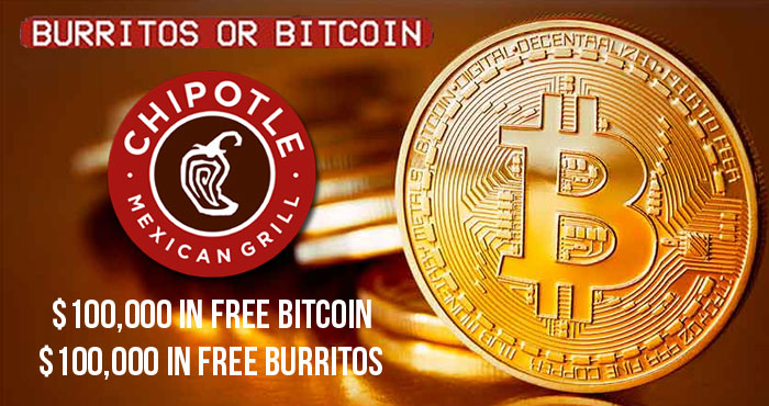 Chipotle Mexican Grill is giving away Free #Bitcoin for National Burrito Day on Thursyda, April 1st and it's not #AprilFoolsJoke. Chipotle is giving away $100,000 in Bitcoin and $100,000 in free burritos #WeBull