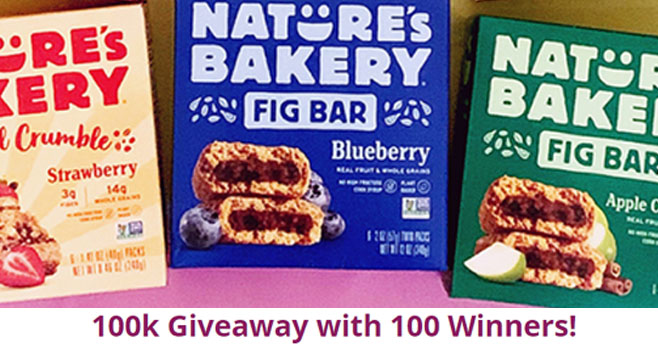 Nature's Bakery reached 100,000 followers on Instagram and is celebrating in a BIG WAY with 100 prizes for 100 winners! Yay! Enter for the chance to win $100 gift cards to Target and Nature's Bakery, and some yummy plant-based snacks!