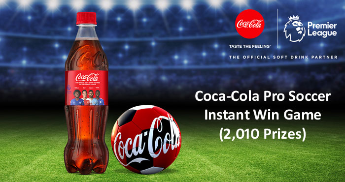 """2,201 WINNERS! Play the Coca-Cola Pro Soccer Instant Win Game daily for your chance to win prizes like """"Free Gear for a Year"""", a MLS jersey, EA Sports FIFA 21 game, JLab's Epic Air ANC headset, or gift cards from MLS, Door Dash"""