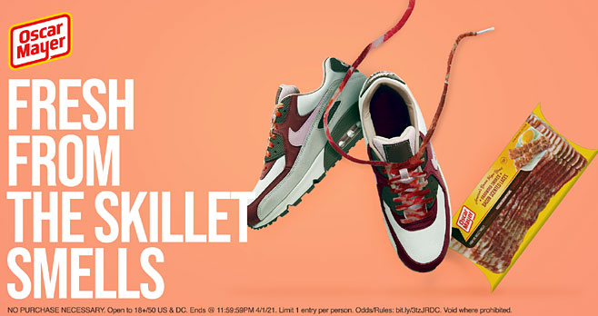 Happy #AirMaxDay. To celebrate the re-release of the Air Max Bacons, Oscar Mayer is giving away FREE bacon scented laces that'll make your kicks sizzle. Tweet #OscarCookMyKicks and #Sweepstakes for the chance to cop 'em