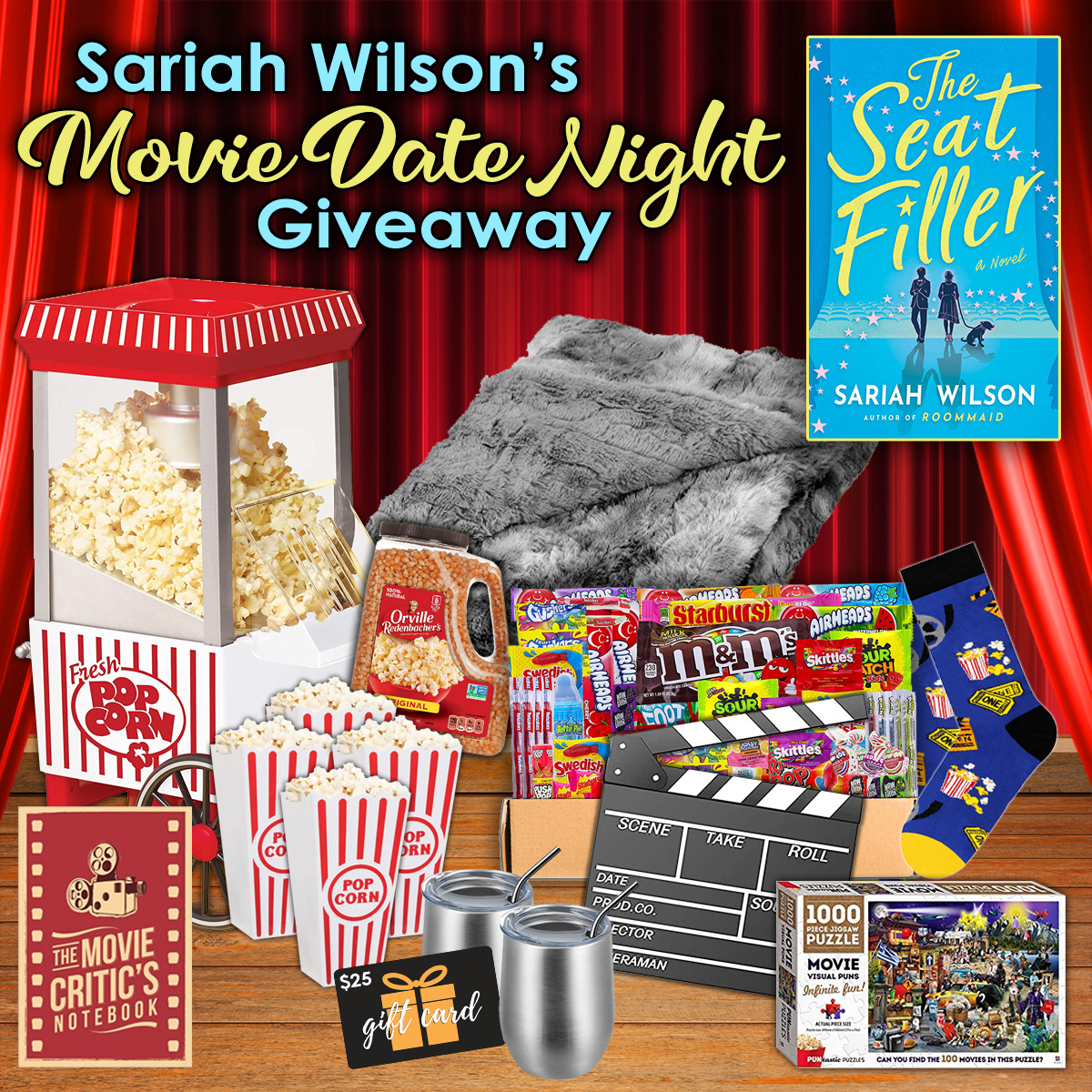 USA Today bestselling author, Sariah Wilson, is launching her latest book, The Seat Filler, and is giving you the chance to win a movie date night prize pack just for checking out her new book.