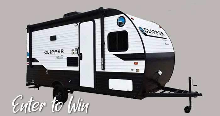 Enter for your chance to win a 2021 Coachmen Clipper Cadet RV valued at over $22,000. Donate blood to the American Red Cross or enter without donating blood by email.