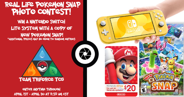 Team Triforce invites you play #Pokémon Snap in the real world. Entering is easy, just snap a photo of your favorite Pokémon out in the wild and share it using #RealLifePokemonSnap You could win aNintendo Switch Lite with Pokemon Snap. The New Pokemon Snap Game, or even a $20 Nintendo eShop Gift Card