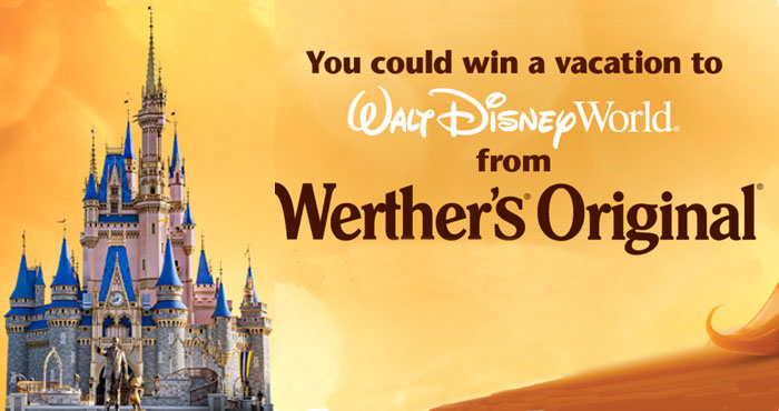 Enter for your chance to win a vacation for two to Walt Disney World Resort from Werther's Original that includes airfare, hotel accommodations, 4-day park passes and a $300 Disney gift card