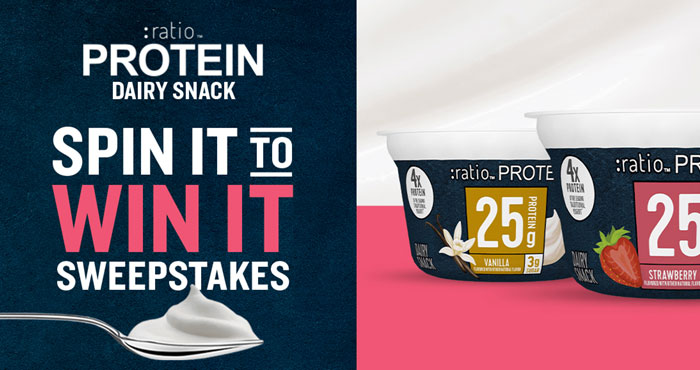 Click Here to get the free entry code to spin the prize wheel for a chance to instantly win rewards like grocery digital gift cards, fitness memberships or Foot Locker gift cards in the General Mills :ratio Protein Dairy Snack Instant Win Game. Every spin earns you an entry in the grand prize sweepstakes of a high-end exercise bike. Powerful snacks, powerful prizes.