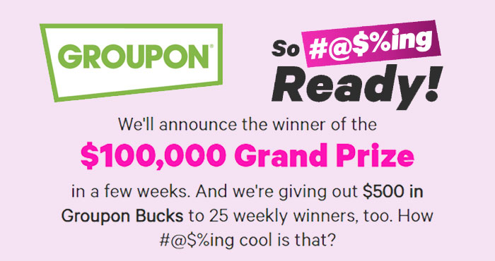 Share what kinds of self-care you've put off for too long and and you could win $100,000! Plus, 25 weekly winners will receive $500 in Groupon Bucks!