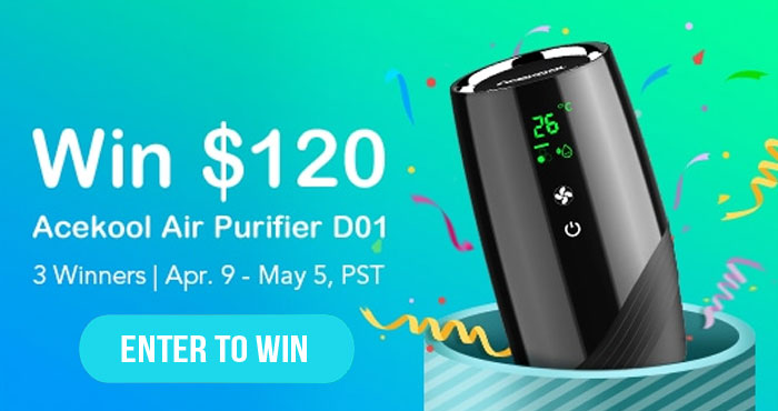 Enter for your chance to win a FREE Acekool Air Purifier. There will be 3 winners.