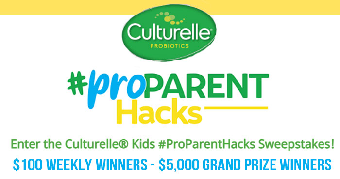 Enter the Culturelle Kids #ProParentHacks Sweepstakes and you could win $5,000 in cash! Got a parenting hack? Share it with Culturelle. One winner will be drawn at random weekly to win a $100 Amex gift card an two Grand Prize winners will win $5,000 each