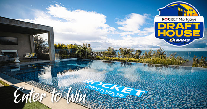 Enter for a chance to win a weekend stay at the Rocket Mortgage Draft House in Malibu, California valued at $12,000 that includes a 2 night stay, $2,000 for airfare plus $2,000 for food and beverages for you and up to 3 guests.