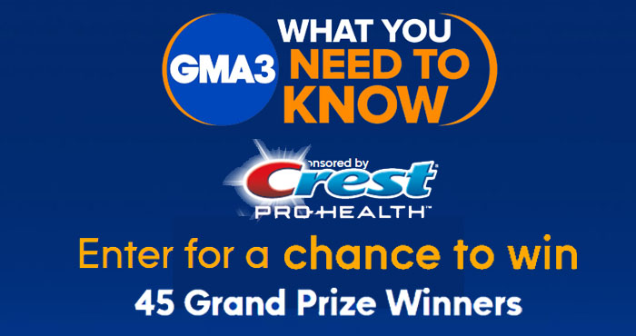 45 WINNERS! Enter the ABC GMA3 and Crest Giveaway for your chance to win Crest Complete Protection and a $50 Walmart gift card. One entry gets you into the drawing.