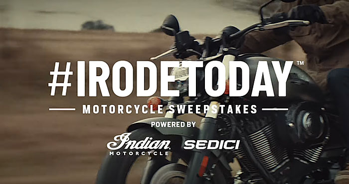 Enter for your chance to win a 2022 Indian Chief Motorcycle from Revzilla! The #IRodeToday Sweepstakes is back! It's the biggest motorcycle giveaway of the year, and YOU can be the winner. Sign up today for your chance to ride off on your choice of one of three premium models of the new 2022 Indian Chief motorcycle. A Grand Prize package valued at over $22,500!
