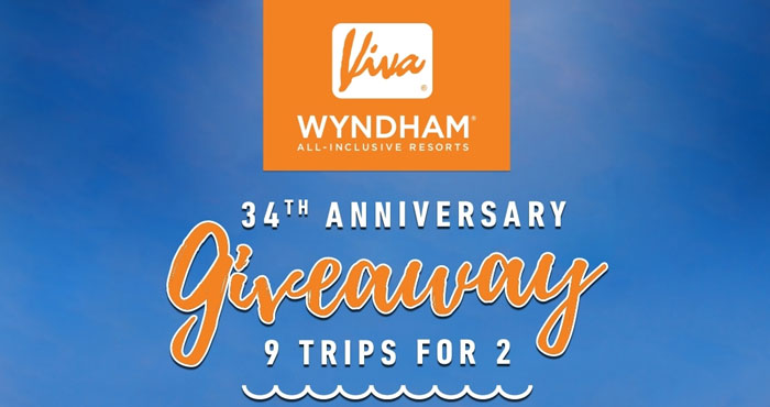 Viva Wyndham Resorts is marking 34 years of unforgettable stays and to celebrate, they're giving nine (9) lucky winners a 5-7 day all-inclusive resort stay for two (2) at any of their all-inclusive beachfront properties in the Dominican Republic, Mexico and the Bahamas.