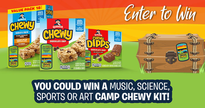 Enter for your chance to win a Quaker Camp Chewy kits for your kids. Each kit is unique and contains all of the fun things they need for play. There are 4 types of kits - Sports, Art, Science and Music