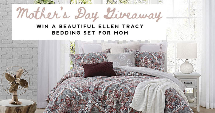 Enter for your chance to wina Luxury Ellen Tracy Bedding set from Cathay Home for your mom or special woman in your life. Winner gets a 3 piece set that includes a comforter and 2 shams in the size of your choice. 100% Cotton.