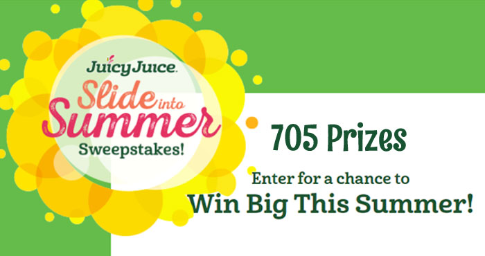 Enter for a chance to Win Big This Summer! The Juicy Juice Slide into Summer #Sweepstakes is giving away over 700 prizes including wooden backyard playscape, fruit-themed inflatable pool and Free Juicy Juice