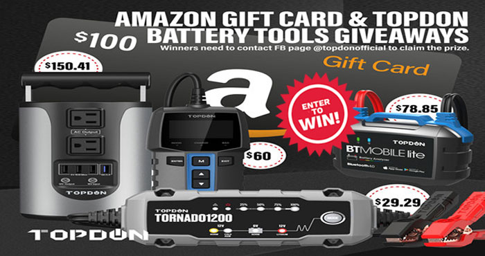 Enter for your chance to win TOPDON products or a $100 Amazon gift card. Prizes include a $100 Amazon Gift Card, $150 Power station, $70 Battery tester, $80 Bluetooth battery tester and $28 Battery charger