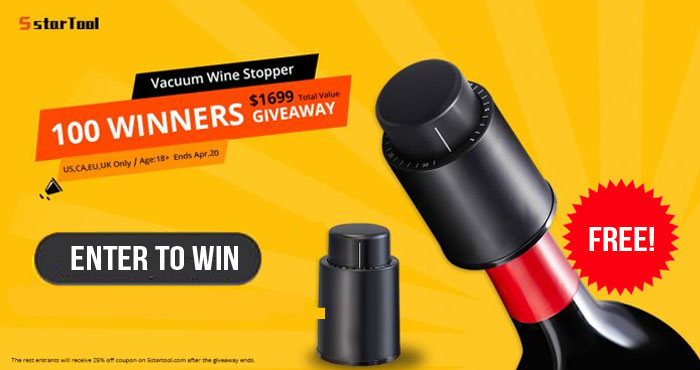 ⚡ Giveaway alert! ⚡ 100 WINNERS! 5STARTOOL Wine Vacuum Smart Memory Bottle Stopper Giveaway. Share, like and tell your friends! Good Luck! ⚡Bonus Entries⚡ Tag your friends with #5startool #WineStopper