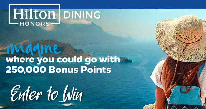 Enter for your chance to win 250,000 Hilton Honors Points which are valued at $2,500! That is enough for you to plan an awesome post-pandemic vacation. There will be two grand prize winners in the Hilton Honors Dining Sweepstakes