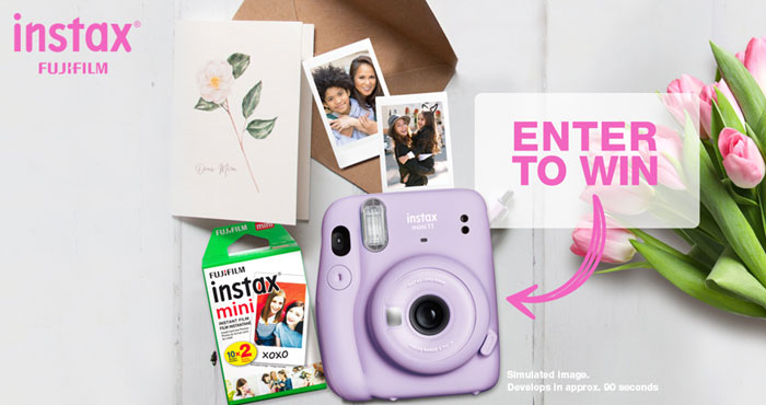 Enter for your chance to win an Fujifilm INSTAX MINI 11 Instant Camera Prize Bundle that includes a Fujifilm Instax Mini 11 Instant Camera and a Fujifilm Instax Mini film pack.