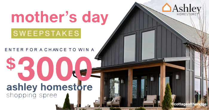 """Enter for your chance to win a $3,000 Ashley Homestore shopping spree and a trip for two to Nashville, Tennessee to stay at a recently constructed cottage titled """"Cottage at the Ridge"""""""