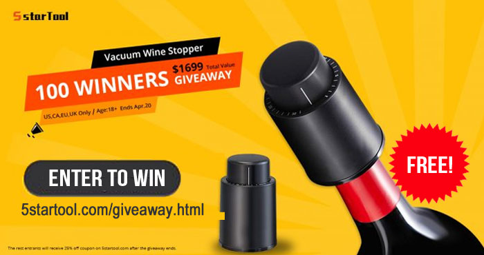 ⚡ Giveaway alert! ⚡ 100 WINNERS! 5STARTOOL Wine Vacuum Smart Memory Bottle Stopper Giveaway. Share, like and tell your friends! Good Luck!⚡Bonus Entries⚡ Tag your friends with #5startool #WineStopper