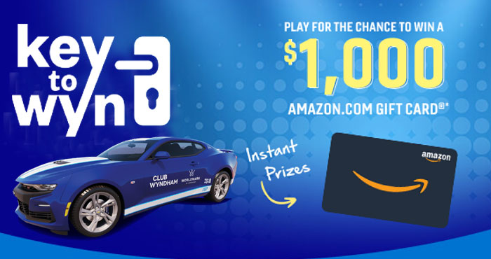 Play the Key to Wyn Instant Win Game daily for the chance to win Free Amazon gift card in the instant win game and be entered to win a Custom Chevrolet Camaro or a trip to Las Vegas in the grand prize drawing.