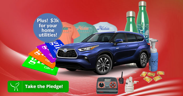 Do your part for Clean Water and a Healthy Ocean Plus, be entered to win 100s of prizes, including $3,000 for your Home Utilities -- and a Toyota Highlander Hybrid for a deserving charity in your town