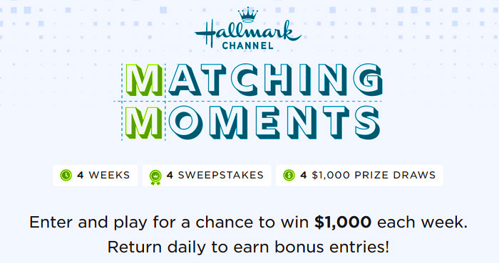 Enter the Hallmark Channel Matching Moments Sweepstakes and play for a chance to win $1,000 each week. Return daily to earn bonus entries!