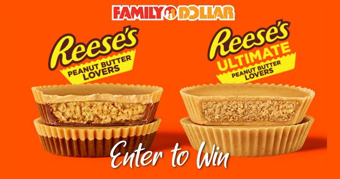 Enter for your chance to win a case of REESE'S Peanut Butter cups from Family Dollar. That's around 500 peanut butter cups to eat and share. Enter the Hershey's Family Dollar Reese's Lovers Sweepstakes daily for your chance to win.