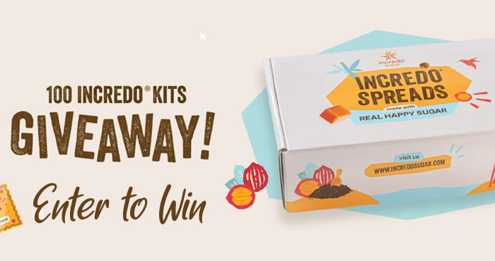 101 WINNERS! Enter the Incredo Sugar Spread The Happiness Sweepstakes daily for your chance to win. Real Happy Sugar Incredo Sugar is on a mission to make the world a happier and healthier place, and to Spread The Happiness they are giving you a chance to win a gift card to build your dream kitchen!