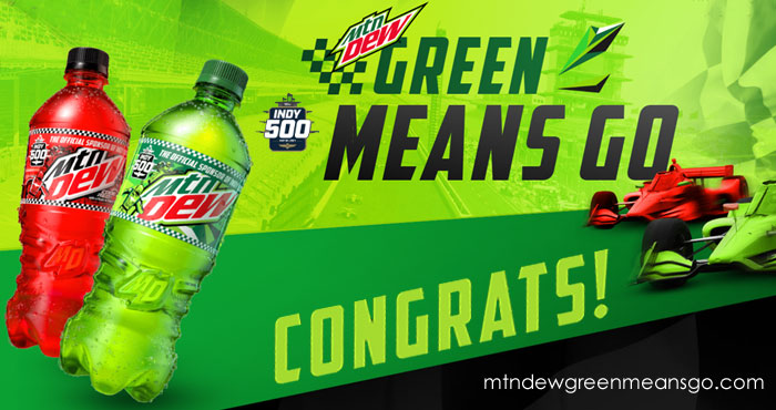 From now until May 23rd, Mtn DEW is giving fans the chance to #win epic race day gear to rev up your race day experience. Plus, every scan of participating MTN DEW products scores an entry into the grand prize sweepstakes.