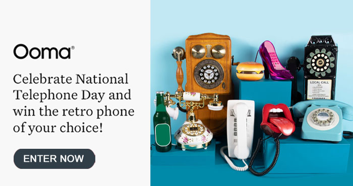 Enter for your chance to win a retro phone, Ooma Linx wireless phone jack and Ooma Telo base station when you enter Ooma's National Phone Day Sweepstakes. Nine winners will be chosen. Will you win?