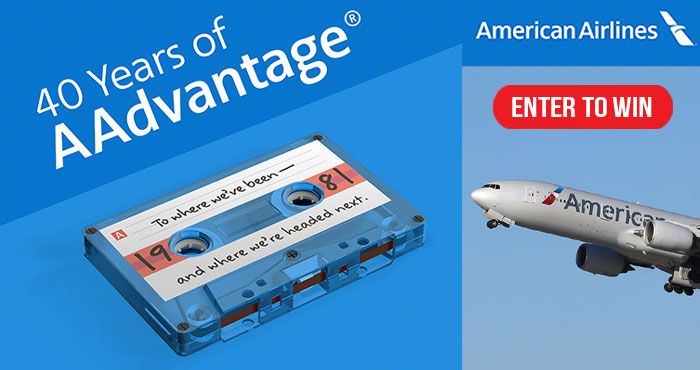 Enter for your chance to win one million American Airlines AAdvantage miles so you can get out there and travel again! Between now and May 3, AAdvantage is celebration their 40th anniversary with a celebration of the many things that inspire us to take flight, plus lots of surprises, prizes and special offers for you to enjoy. It's their way of saying thanks for letting them be a part of your lives.