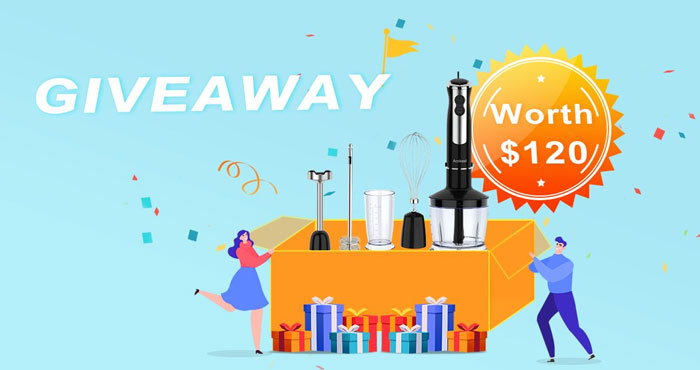 Enter for your chance to win an Acekool BH1 5-in-1 Stainless Steel Electric Hand Blender that offers a wide range of 12-speeds settings. There will be 3 winners in all.
