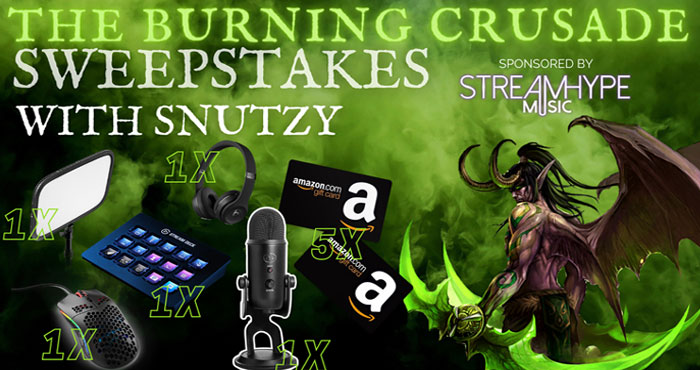 StreamHype (@StreamhypeMusic) partnered with @SnutzTV to give ten lucky winners the chance to win some awesome prizes! Possible prizes include the Elgato Stream Deck, Elgato Key Light Air, Glorious Model O Mouse, Blue Yeti USB Mic, Beats Solo3 Wireless Headphones, and Amazon Gift Cards!