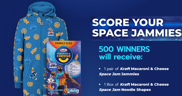Celebrate the arrival of Kraft Macaroni & Cheese Space Jam Noodle Shapes in comfort with your very own Space Jammies.500 WINNERS will receive a pair of Kraft Macaroni & Cheese Space Jam Jammies and aBox ofKraftMacaroni & CheeseSpace JamNoodle Shapes